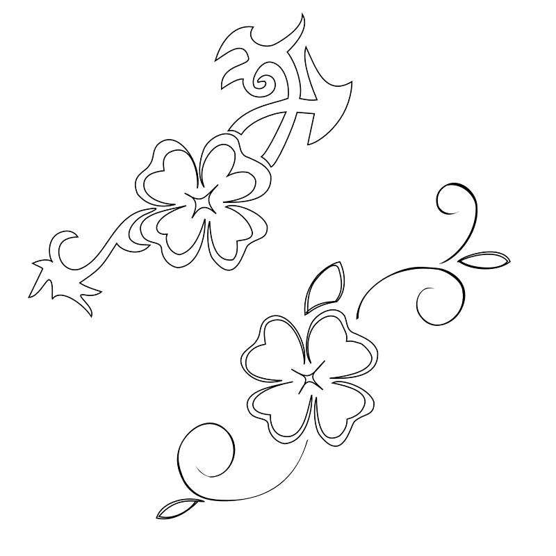 Four Leaf Clover Writing Template Four Leaf Clover Stencil