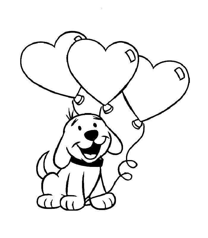 Cute Puppy With Heart Balloons Coloring Pages