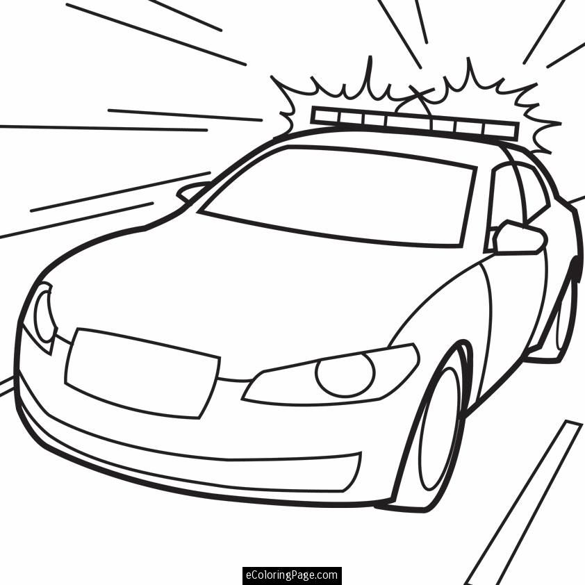 Police Car in Action Printable Coloring Page | ecoloringpage.com