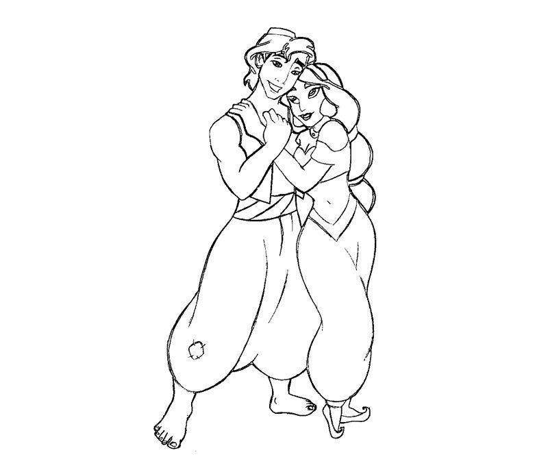 Princess Jasmine love Aladdin Coloring Pages « Printable Coloring