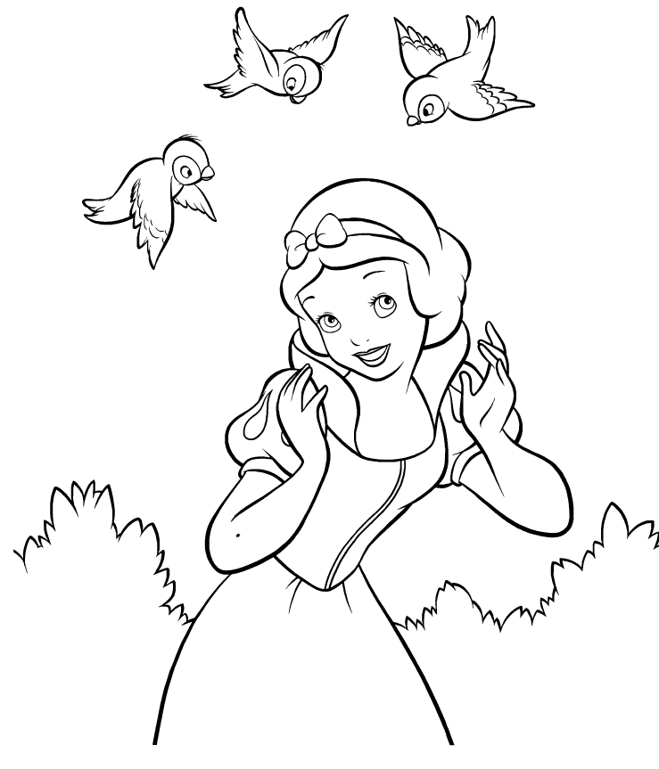 Disney Princesses Snow White Colouring Pages Coloring Home Walt Disney Princess Disney Coloring