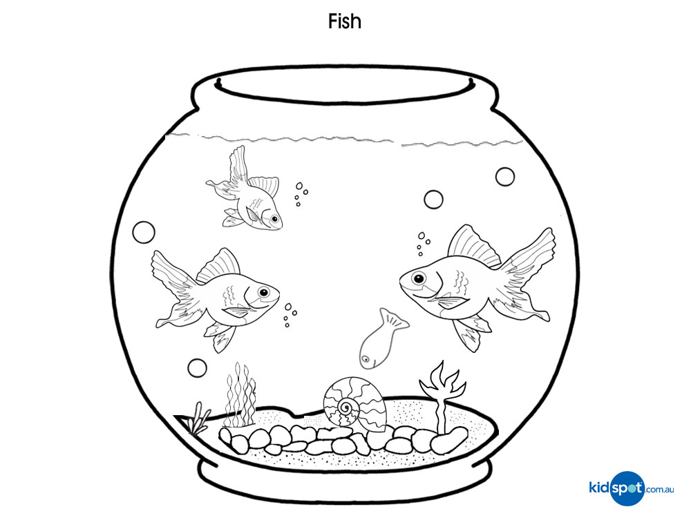 Fish coloring pages kids az coloring pages for Fish bowl coloring pages