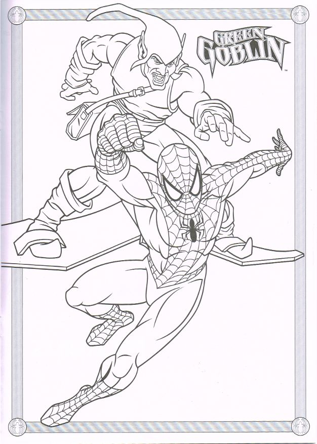 spiderman green goblin coloring pages - photo#3
