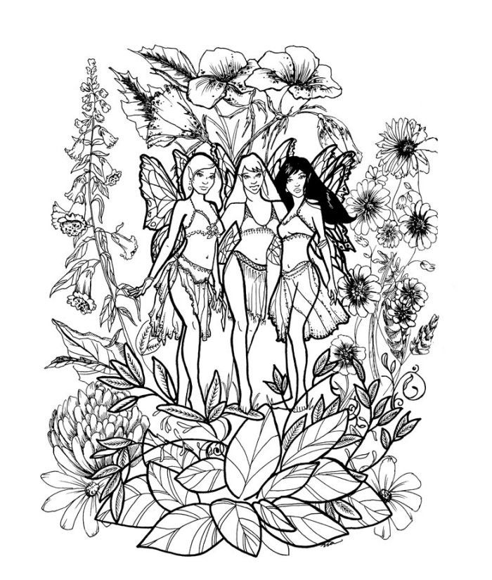 Advanced Coloring Pages Of Fairies : Printable difficult coloring pages az