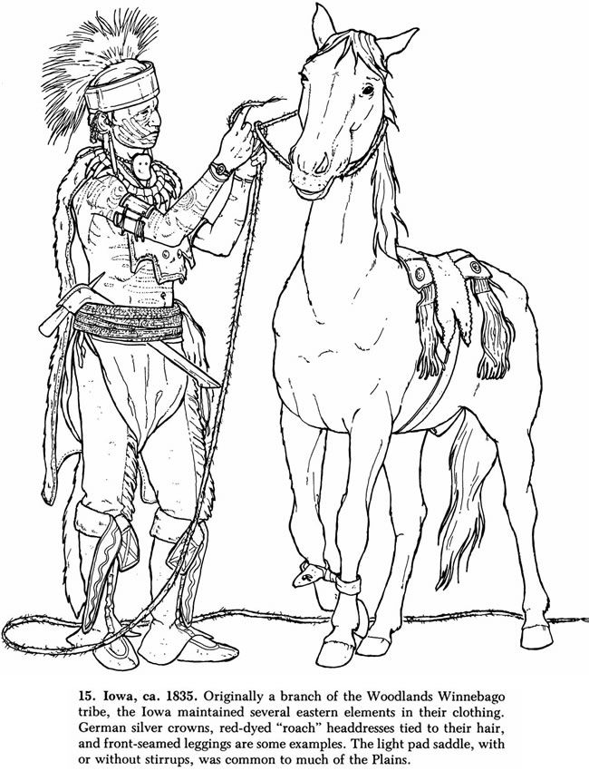 Horse Coloring Page of Winnebago Native American and Horse