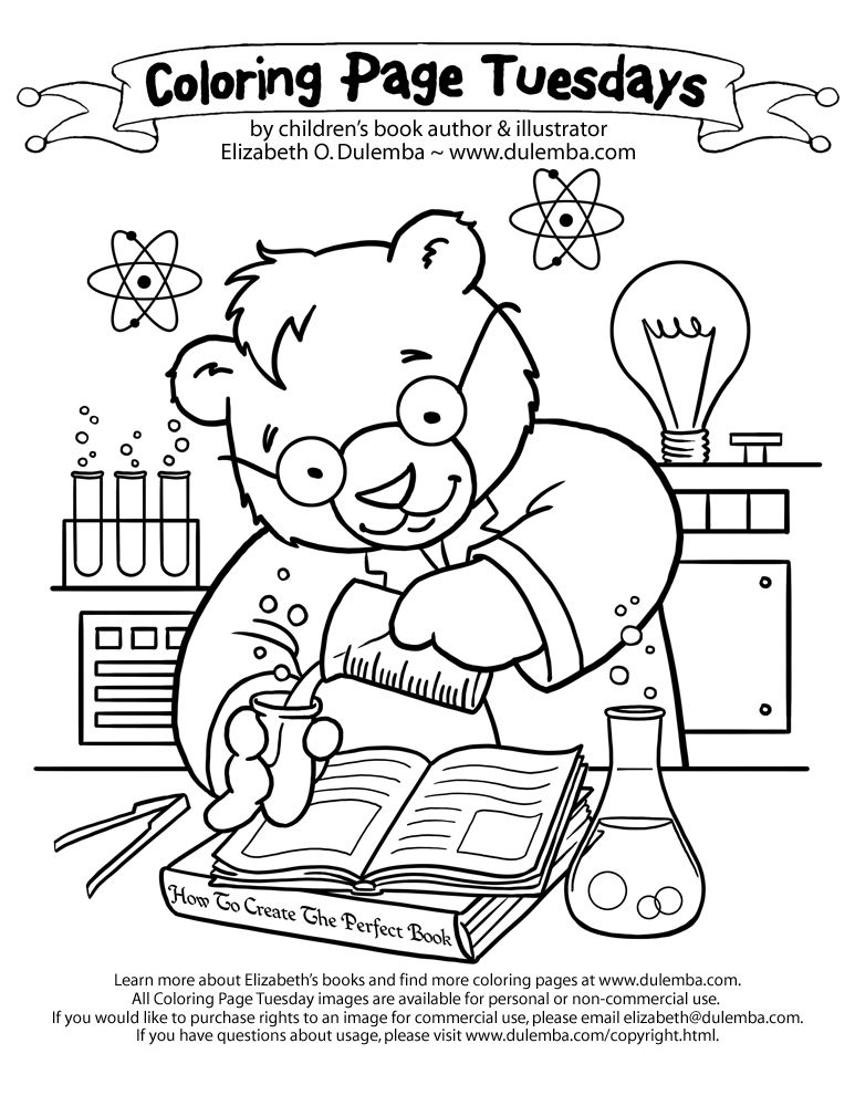 dulemba: Coloring Page Tuesday - Science Bear!
