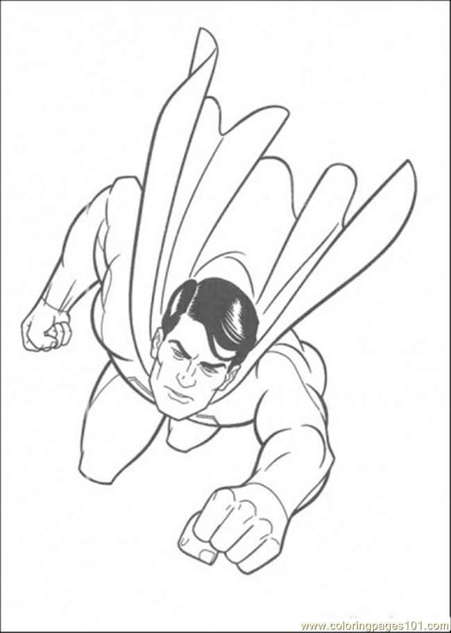 Coloring Pages Superman Is Flying In The Sky (Cartoons > Superman
