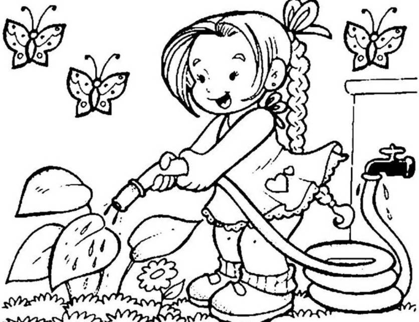 Print Little Girl Watering Flower On Garden Coloring Page Or ...