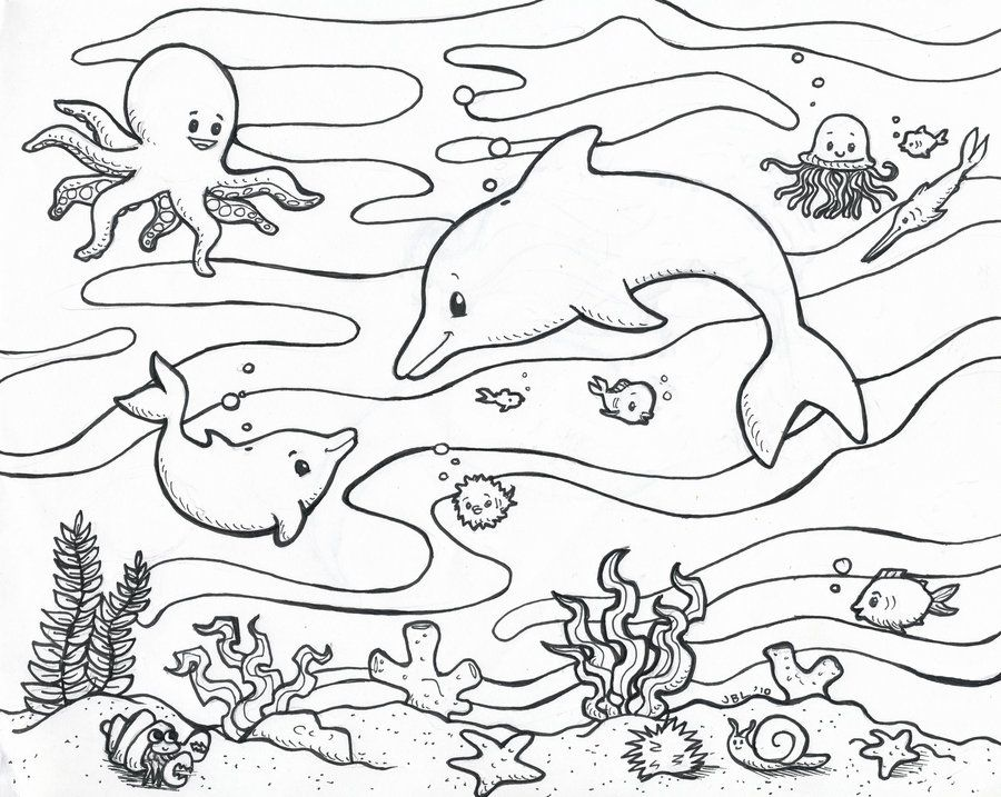 Ocean Scene Coloring Page - Coloring Home