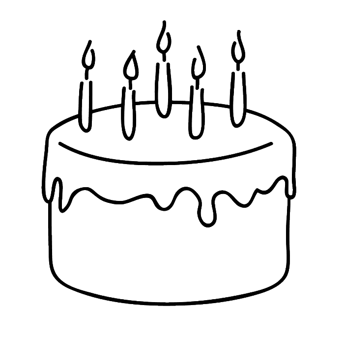Birthday Cake That Is Simple And Attractive Coloring Page