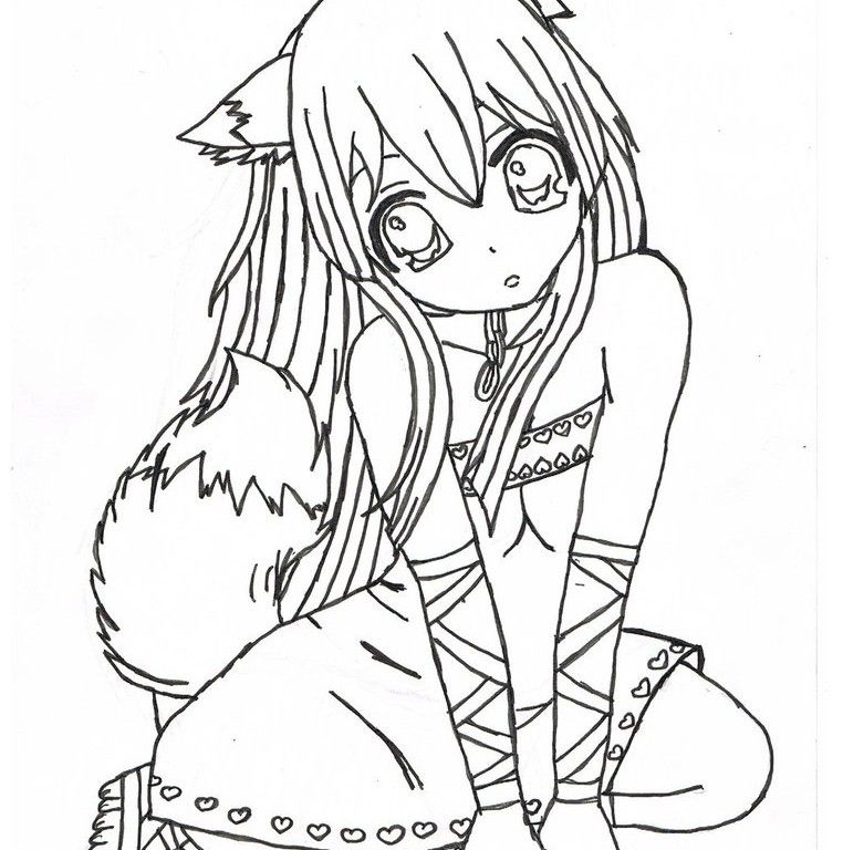 Kids Coloring Pages | Printable Anime Fox Girl - Coloring Home