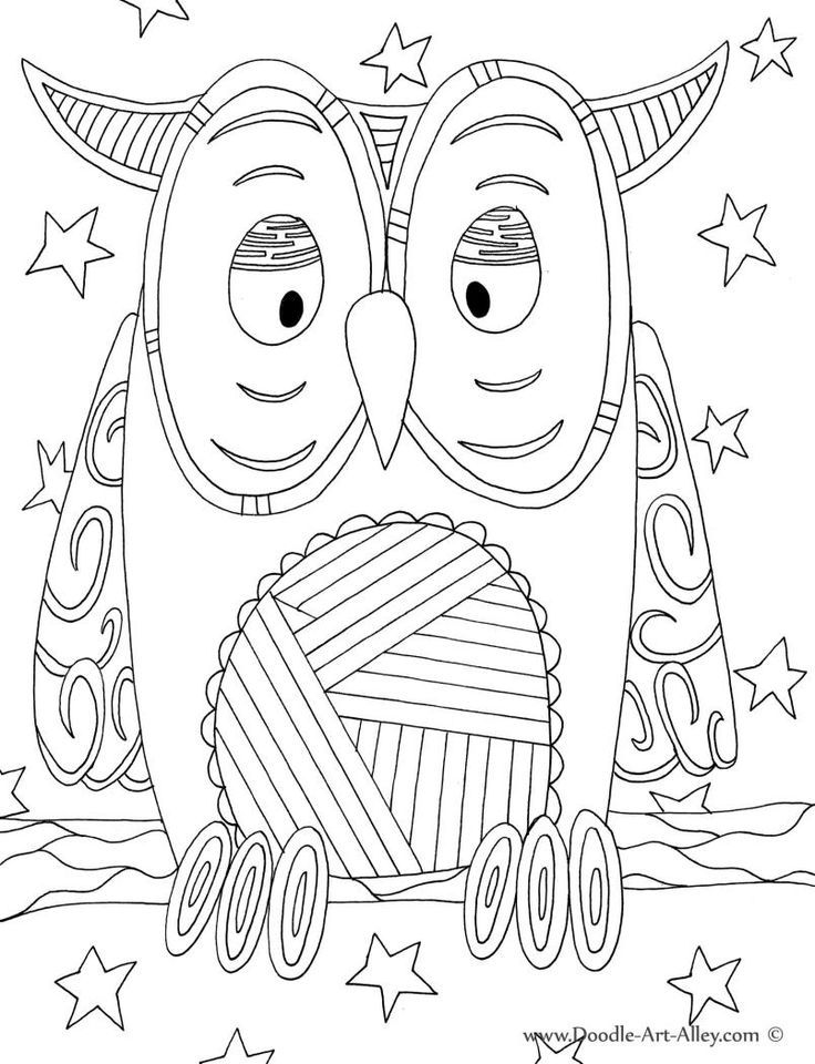 Bird Coloring Pages Doodle Art Alley Owl Classroom Free Doodle Coloring Pages