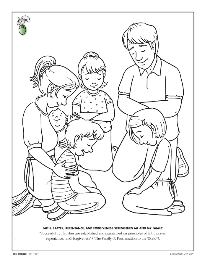 Child Praying Coloring Page AZ