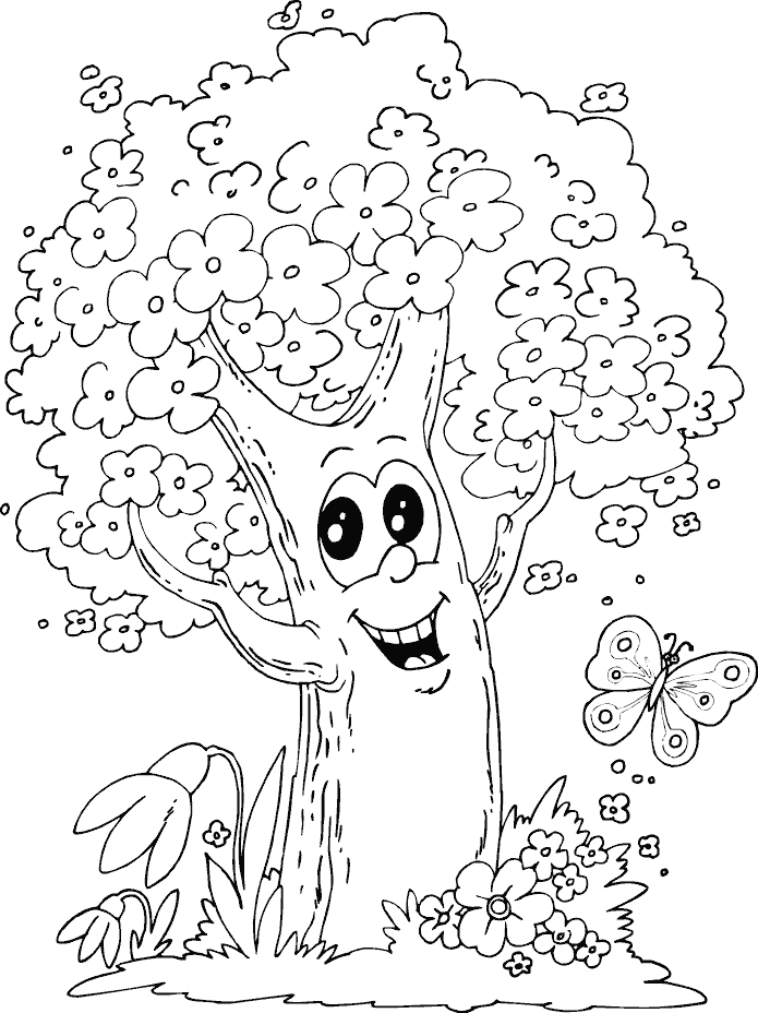 Spring Tree Colouring #12292 Disney Coloring Book Res: 695x928