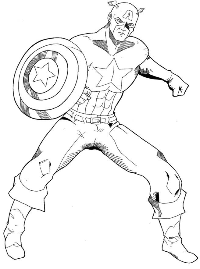 Printable Captain America Coloring Page - Cartoon Coloring