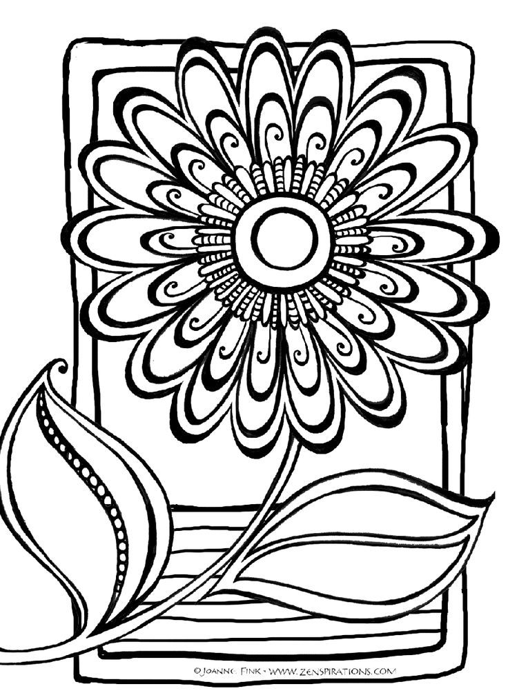 Abstract Coloring Pages Free Pdf : Abstract flower coloring pages free for