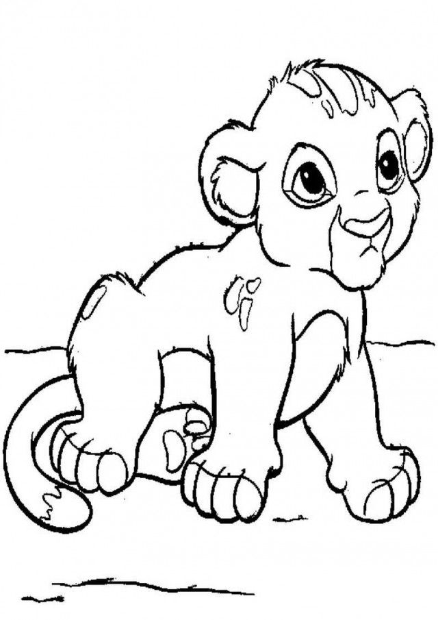 baby lion cub coloring pages for kids printable 139274 baby lion