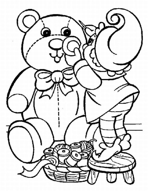 elf building a teddy bear toy printable christmas coloring page for kids