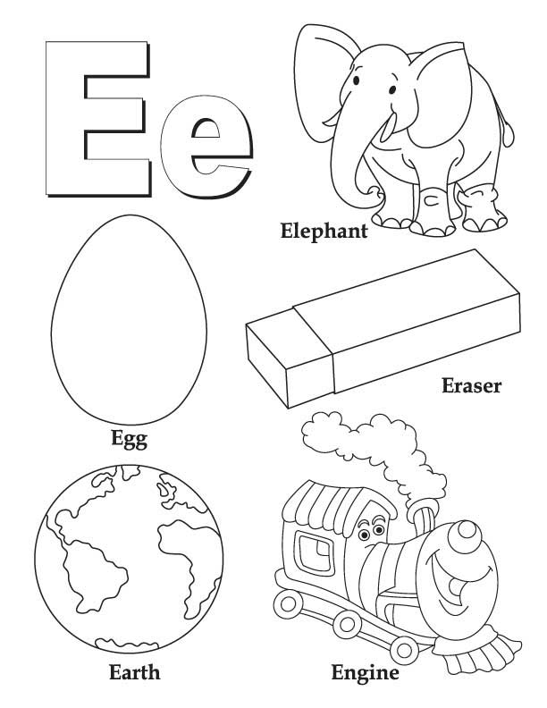 My A To Z Coloring Book Letter E Coloring Page