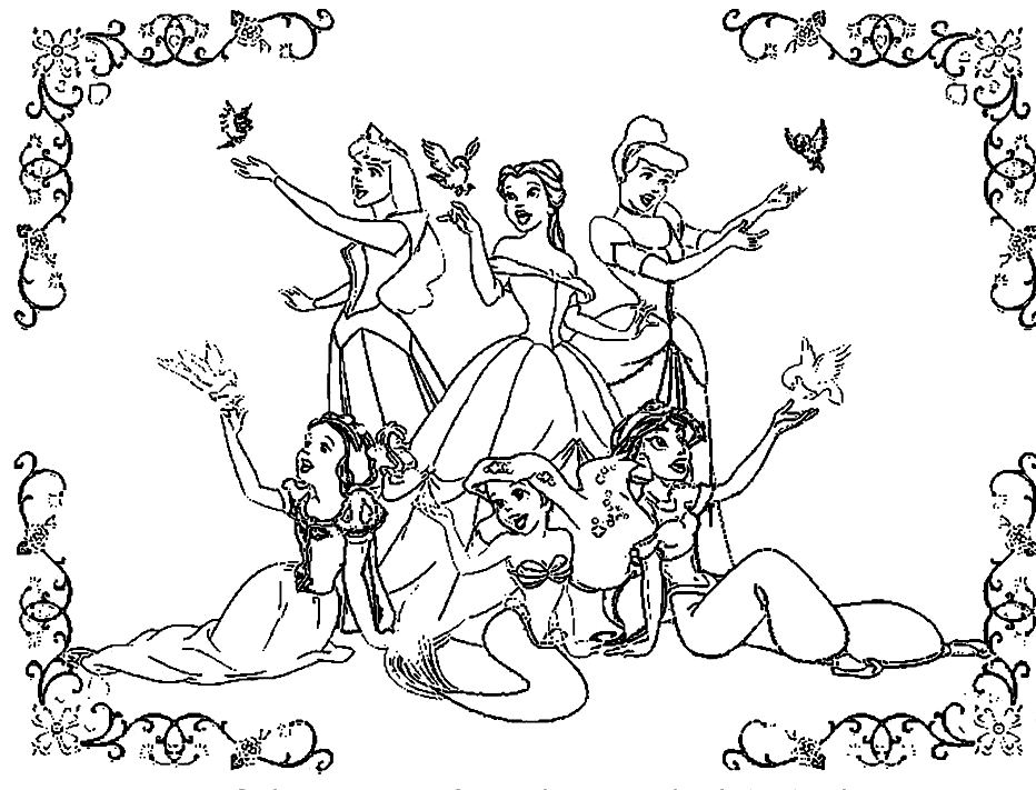Colouring Pages Disney Princess Printable : Disney princesses coloring page az pages
