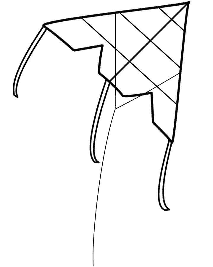 Kite with bows - Coloring Page (Spring) | 900x720
