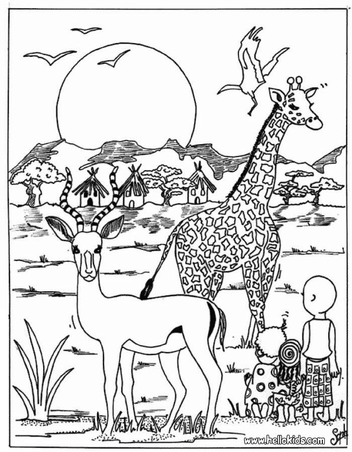 Animals In Africa Coloring Pages Images & Pictures - Becuo