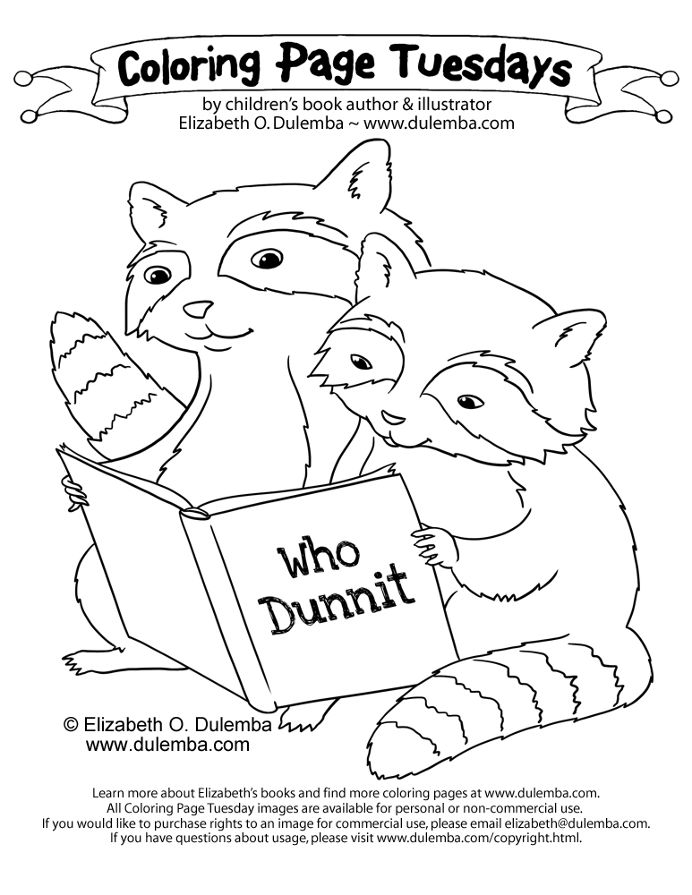 dulemba: Coloring Page Tuesday - Reading Raccoons!