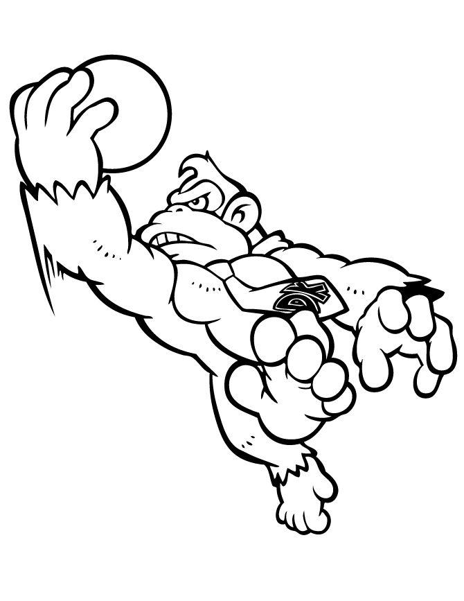 Awareness Donkey Kong Coloring Page Az Pages Creative