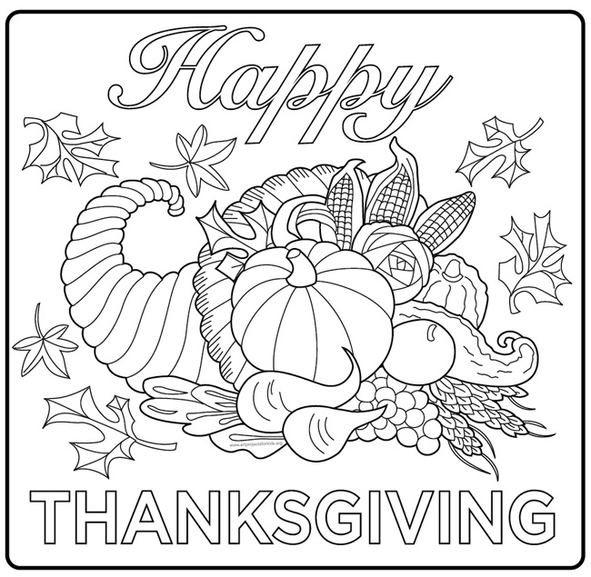 Happy Thanksgiving Coloring Pages Home