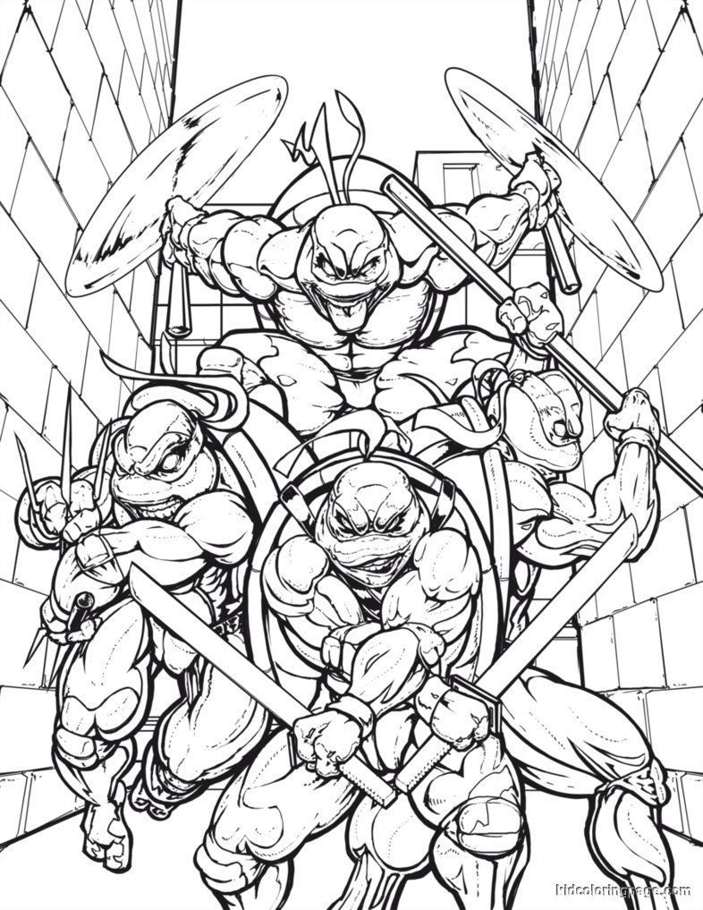 Ninja Turtles Coloring Sheet   Coloring Pages For Kids And For ...