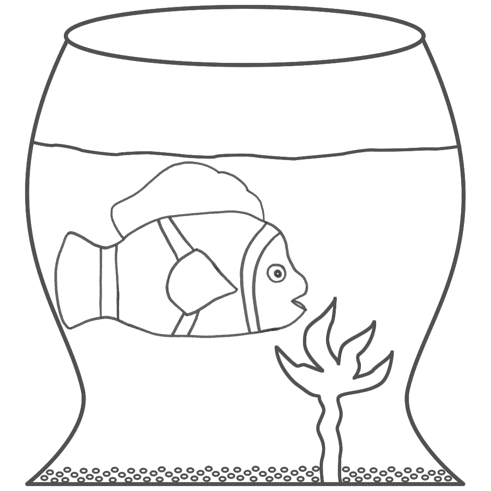Clown Fish in a Fish Bowl - Coloring Page (Fish)