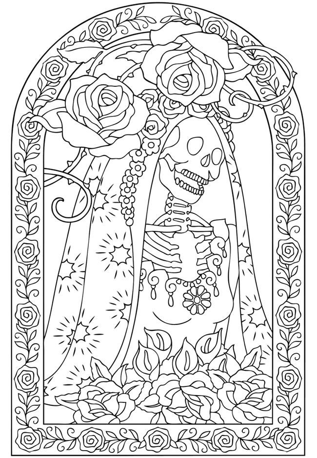 coloring books for grown ups dia de los muertos coloring - Day Of The Dead Coloring Pages