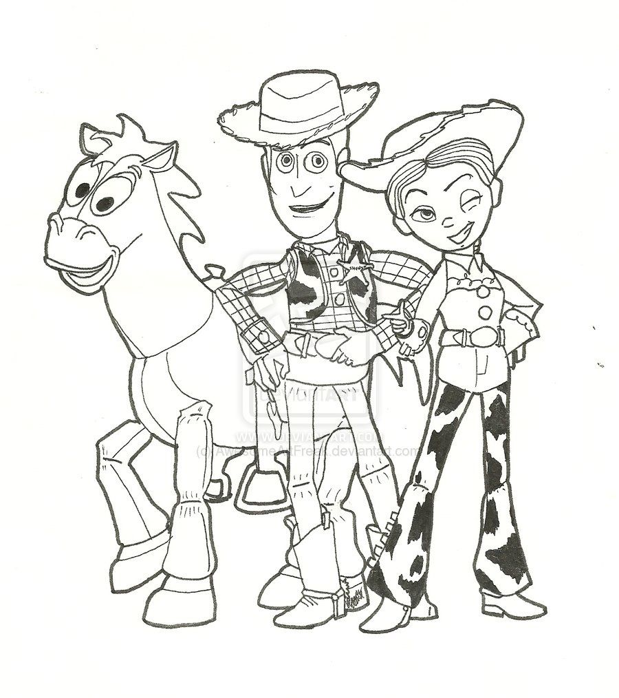 Free Printable Disney Toy Story Coloring Pages Woody Bullseye