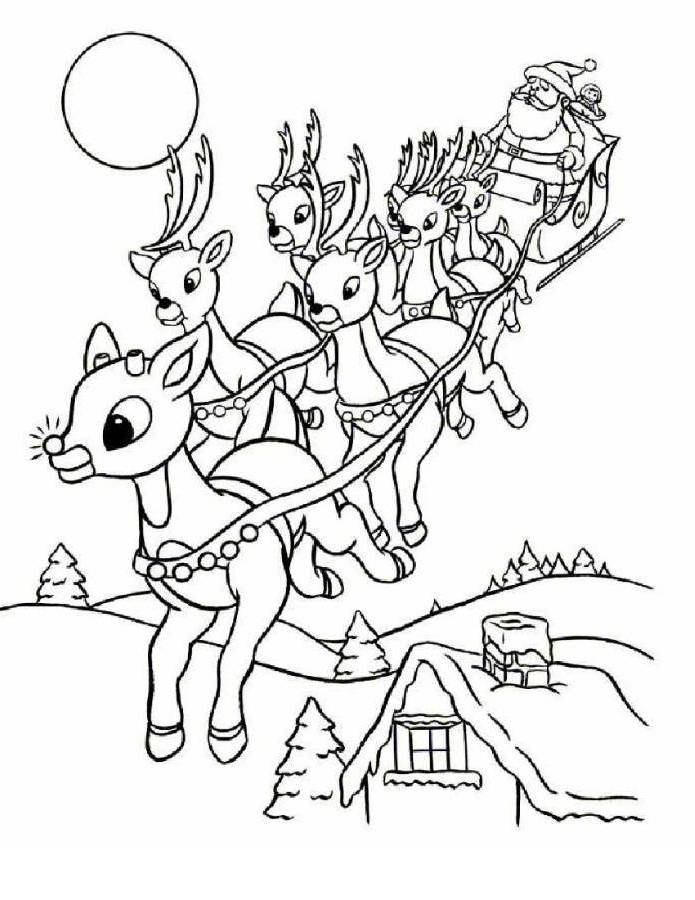 Print Rudolph And Santa Leigh Reindeers Coloring Page or Download ...