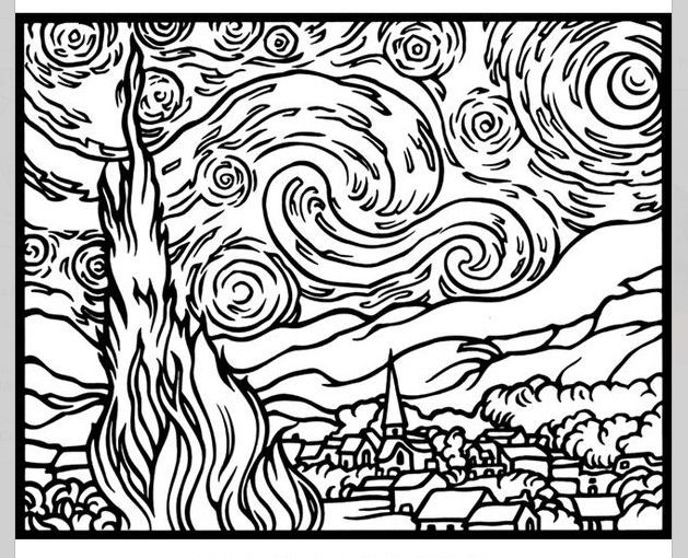 Starry Night Coloring Page Az Coloring Pages Starry Coloring Page Gogh