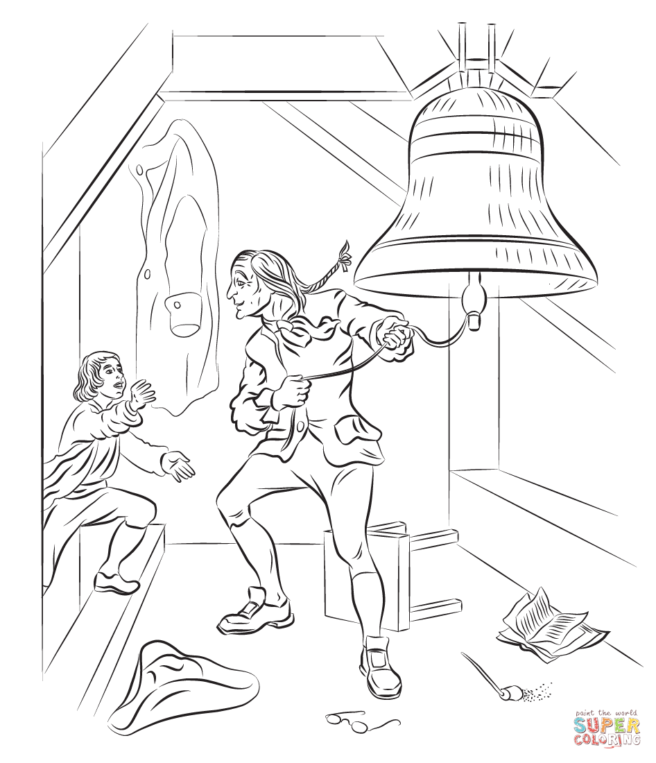 Liberty bell coloring page coloring home for Revolutionary war newspaper template