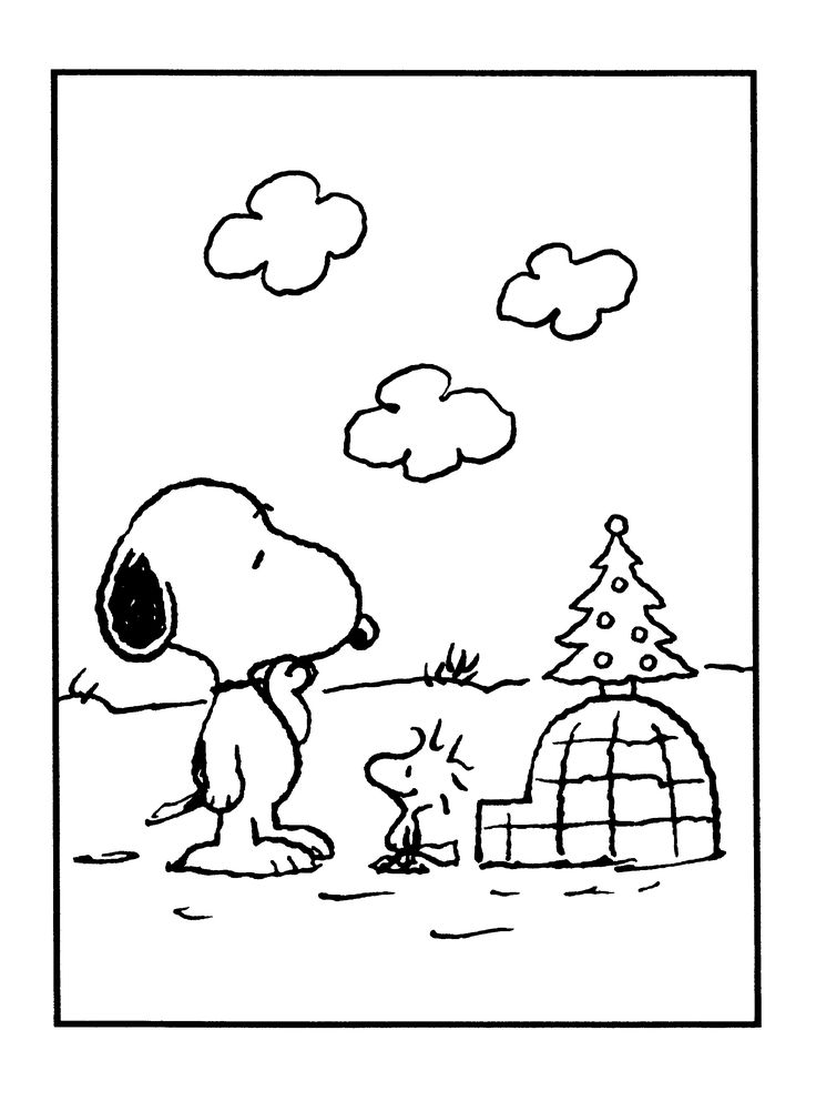 snoopy woodstock christmas coloring pages - photo#2