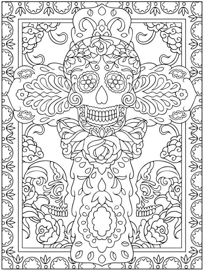 El Dia De Los Muertos Skulls Coloring Pages Az Coloring Dia De Los Muertos Coloring Pages