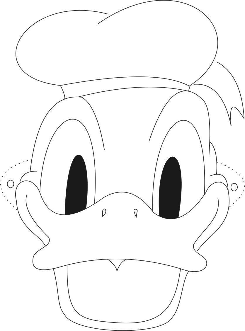 Donald duck face coloring pages coloring home for Printable mouse mask template
