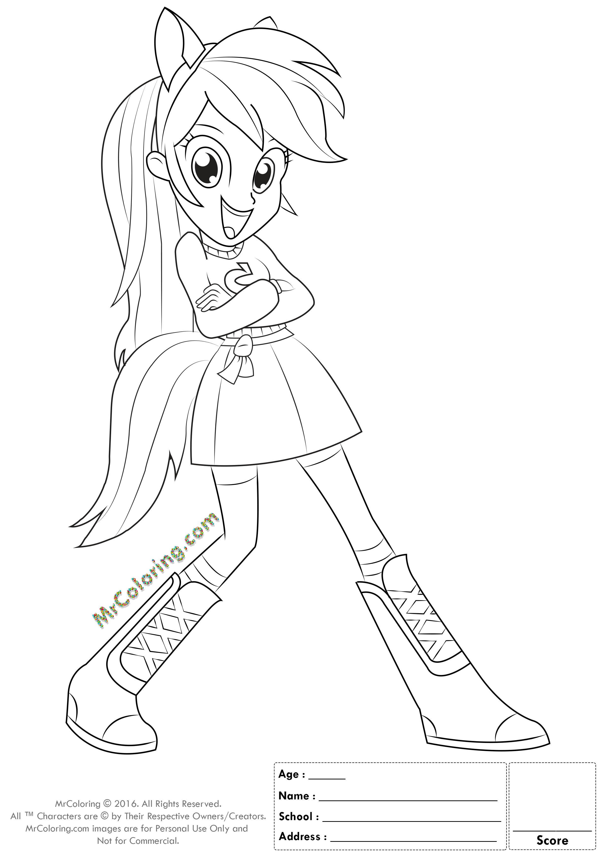 MLP Rainbow Dash Equestria Girls Coloring Pages - 3 | MrColoring.com