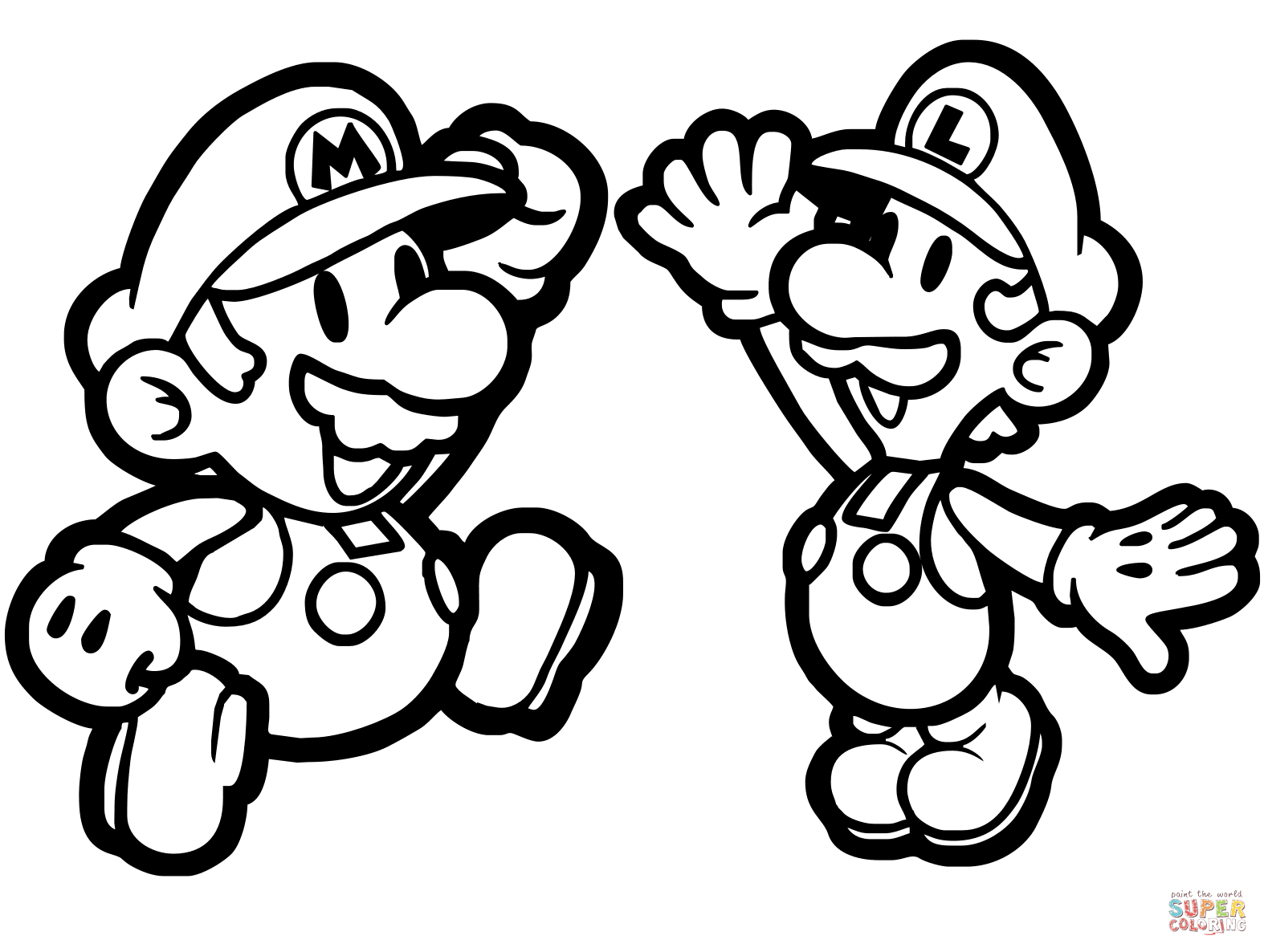 Paper Mario and Luigi coloring page | Free Printable Coloring Pages