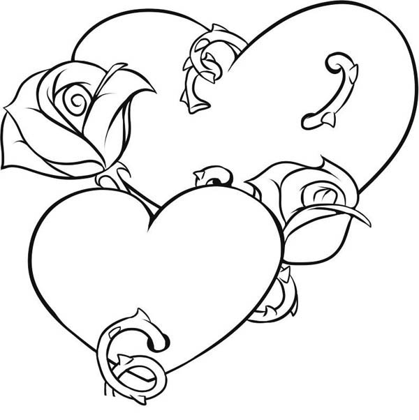 Coloring Pages For Mom Anddad With Hearts And Roses