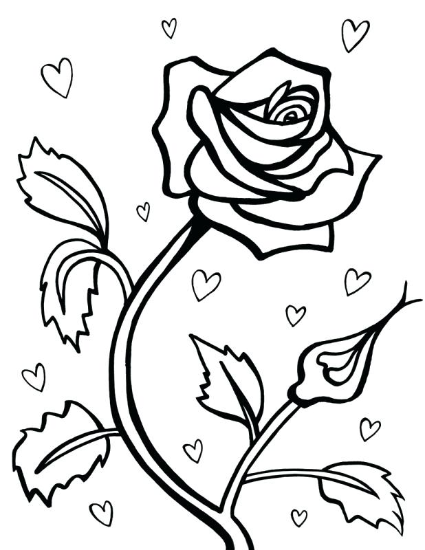 Roses and Hearts Coloring Pages - Best Coloring Pages For Kids