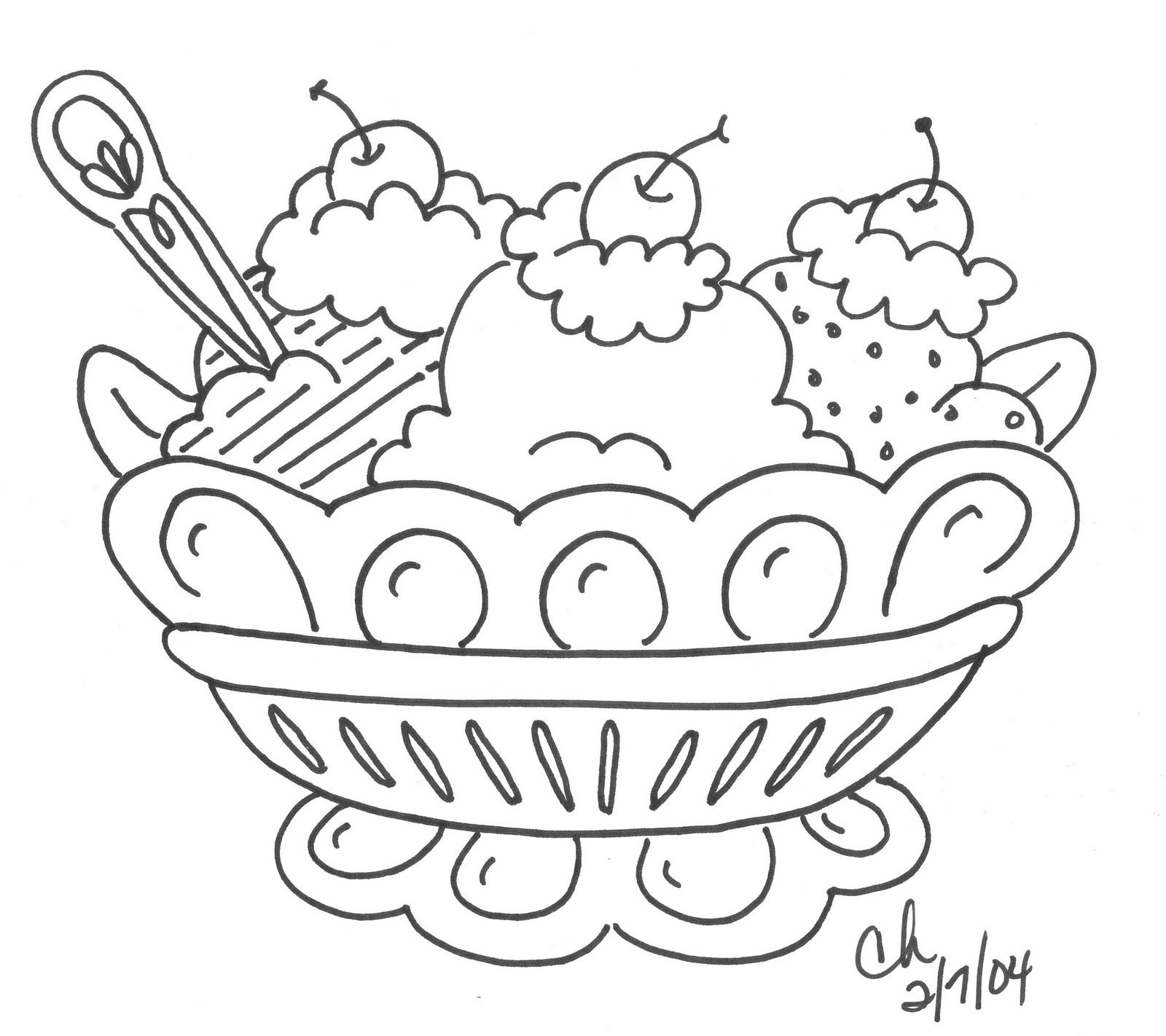 Banana split ice cream sundae coloring page coloring for Ice cream sundae coloring page