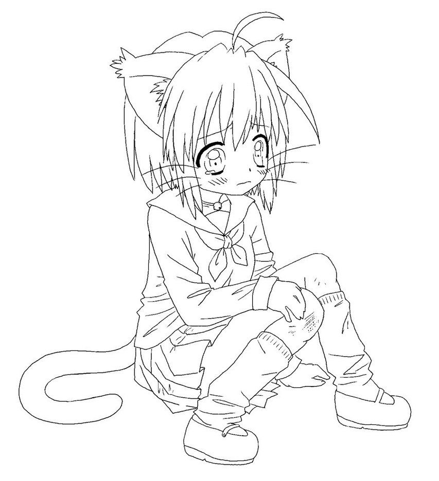 anime girl cat coloring pages - photo#3