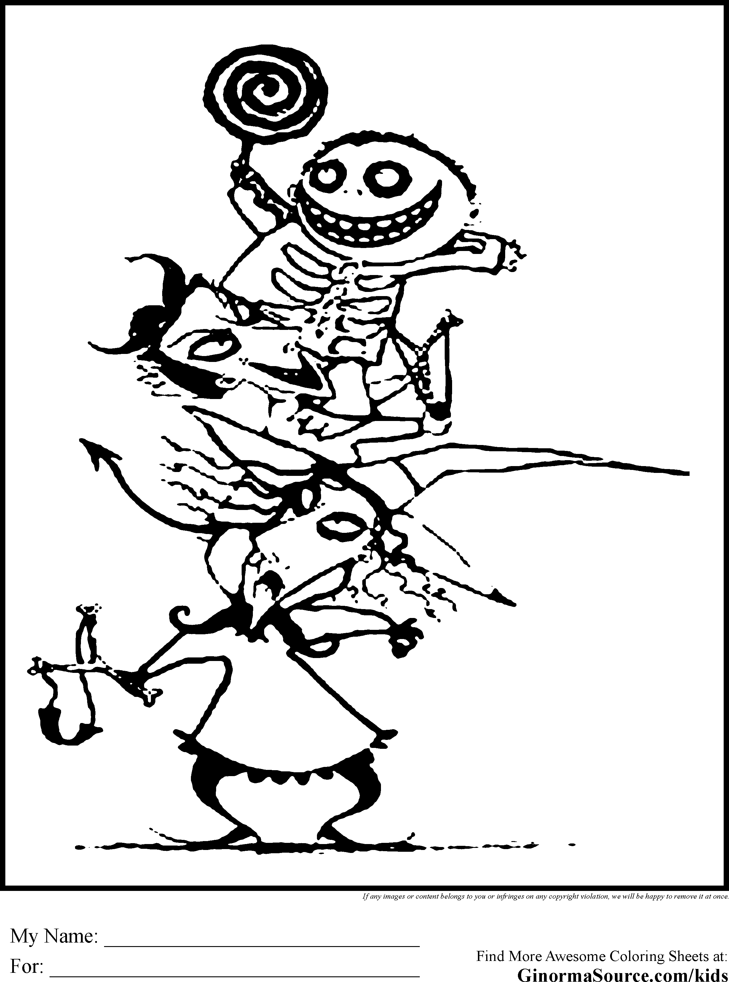 Free printable coloring pages nightmare before christmas - Boogie Man Nightmare Before Christmas Coloring Pages Coloring