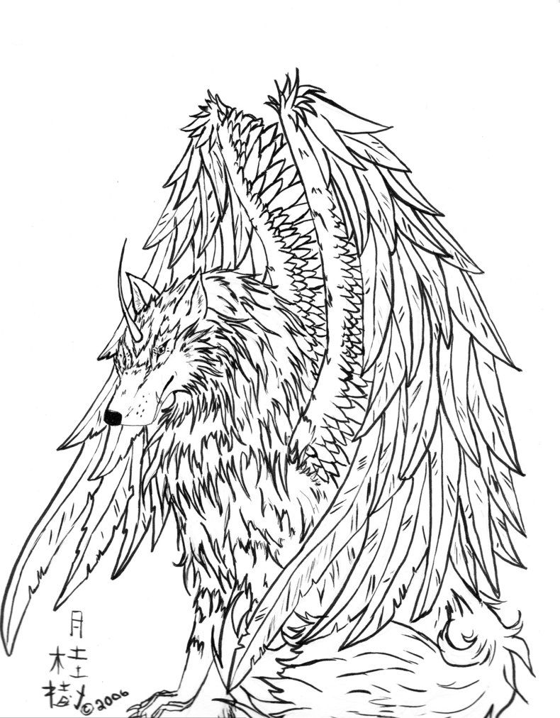 11 Pics of Winged Wolf Pack Coloring Pages - Winged Wolf Coloring ...