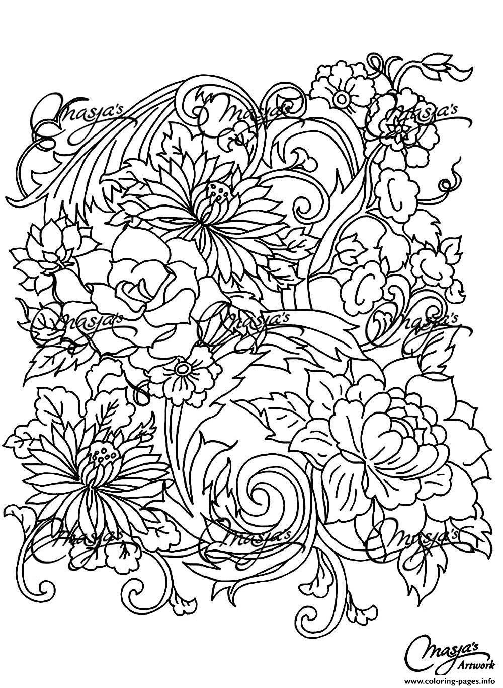 l flower coloring pages | Printable Coloring Pages For Adults Flowers - Coloring Home