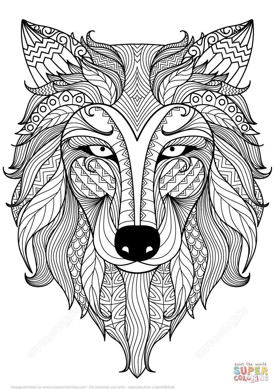 Wolf Zentangle coloring page | Free Printable Coloring Pages