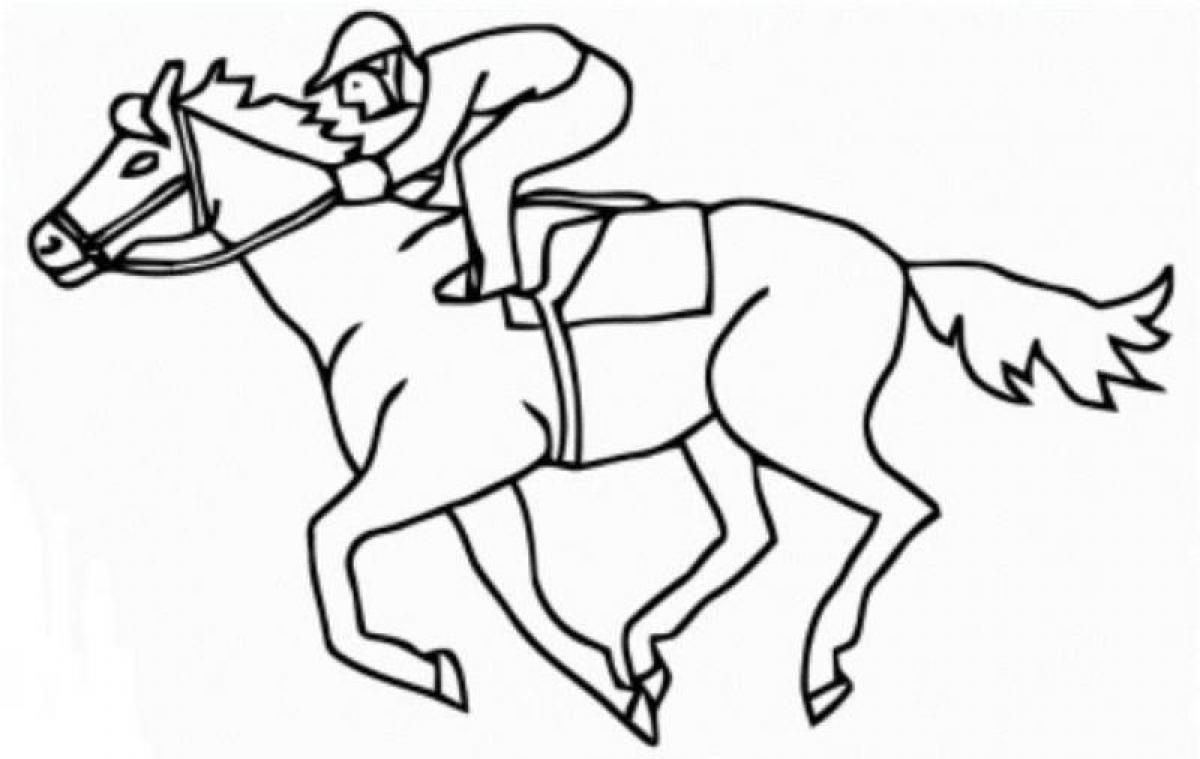 Race Horse Coloring Page Coloring